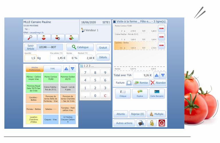 Capture d'écran du terminal point de vente