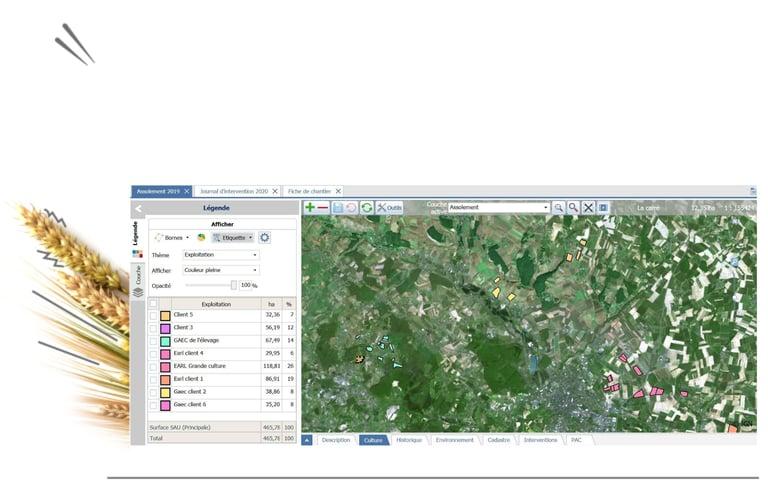 Avec Geofolia ETA, je suis les parcelles de mes clients à distance : mesures des parcelles, surveillance satellite, stade des cultures, pression maladie. J'organise au mieux les interventions sur leurs parcelles