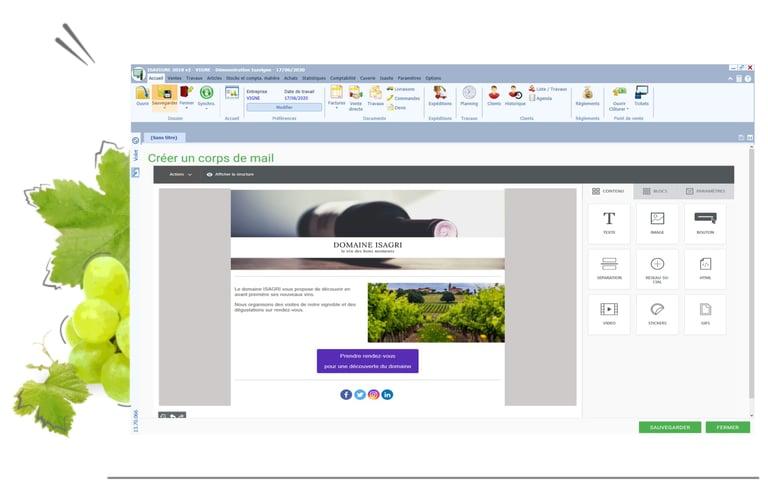 créer facilement des emailling avec ISAVIGNE pour communiquer et fidéliser les clients