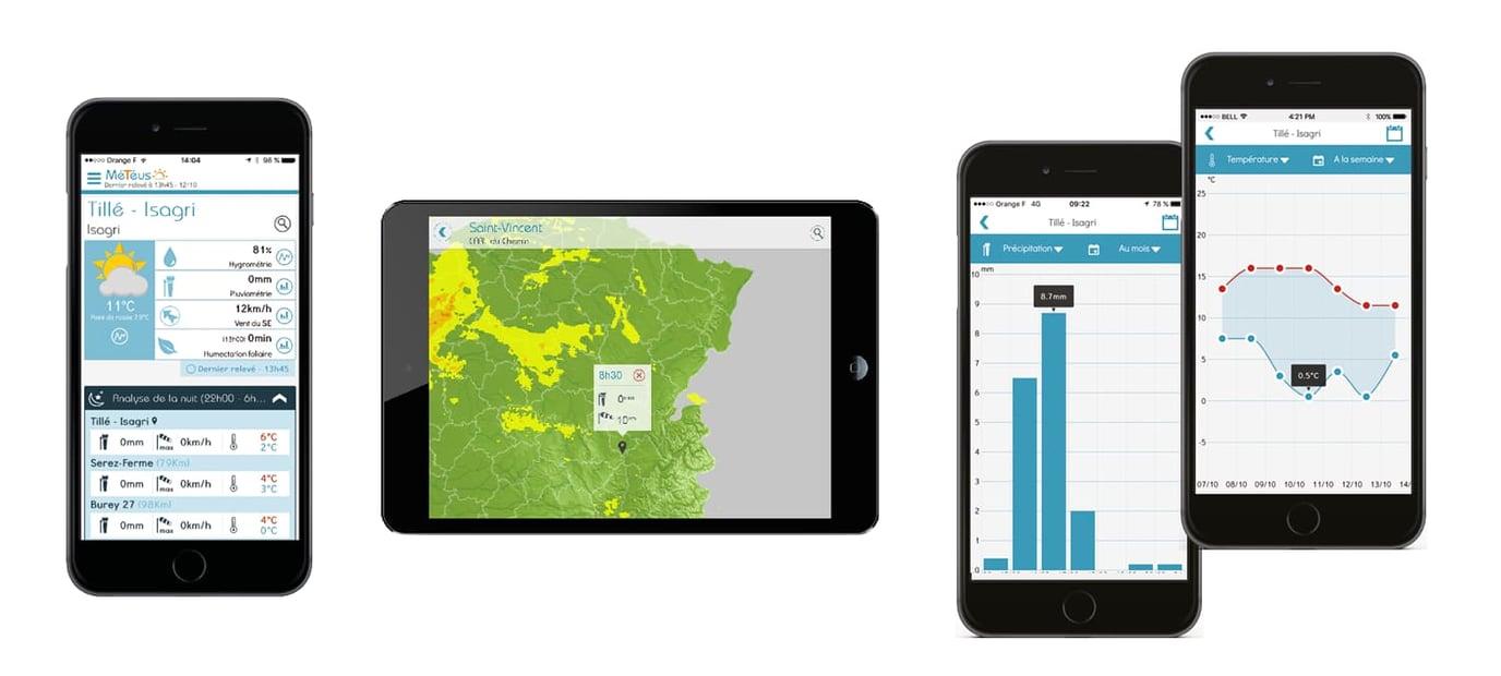 Météus, station météo agricole autonome avec application mobile et alertes