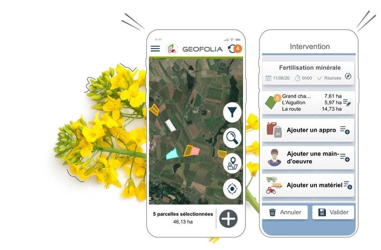: Avec l'application Smartphone Geofolia j'ai toute mon exploitation dans la poche : historique des interventions réalisées. Je gagne du temps au quotidien