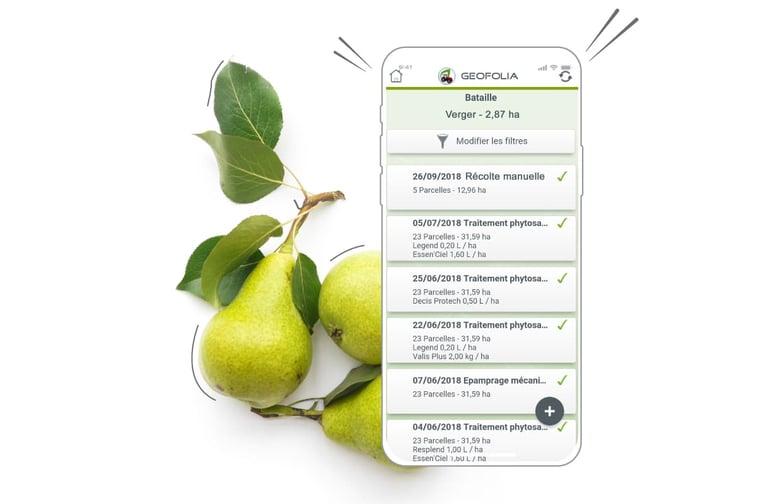 L'application mobile Géofolia arboriculteurs et maraîchers vous permet d'avoir dans votre proche toutes les informations essentielles en permanence