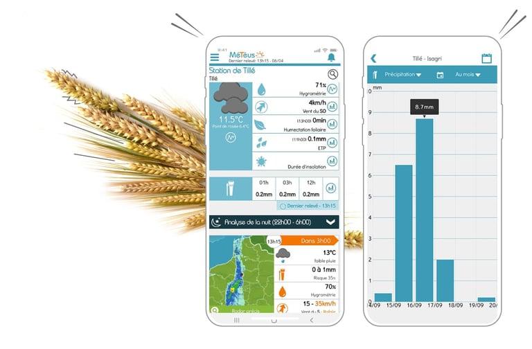La météo agricole en temps réel au cœur de des parcelles de mes clients avec l'application Smartphone Météus
