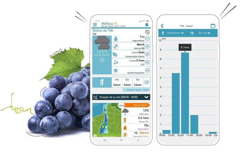L'application Smartphone Météus m'aide à surveillez précisément la m2t2o de mes parcelles